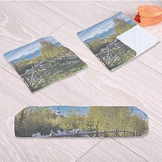 C COABALLA Farm House Decor Travel Towel,Idyllic Scene with Tree Trunk for Swimming Pool Bathing,One Sided Printing:3 Piece Towel Set