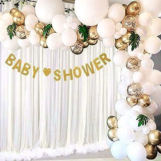 Arche de Ballon, 113 Pcs Guirlande de ballons confettis en or blanc avec des feuilles de palmier tropical pour pour Enfant...