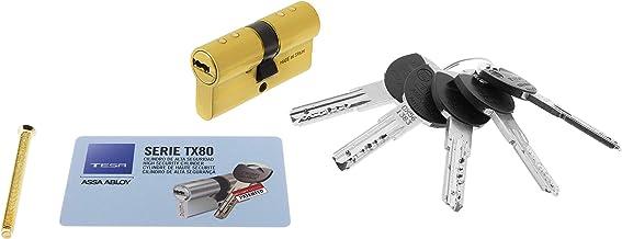 Tesa Assa Abloy, TX853035L, Cilindro de Alta Seguridad, TX80, Doble Embrague, Leva Larga, Llave - Llave, Latonado, 30 x 35 mm