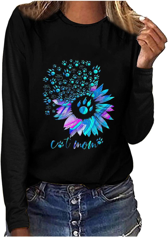 POLLYANNA KEONG Sweatshirts for Women,Sweatshirt for Women Vintage Graphic Fashion Casual Crewneck Long Sleeve Pullover