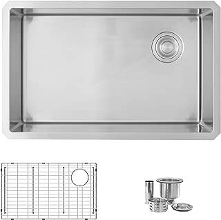 Bluic 28 Inch Stainless Steel Undermount Single Bowl Kitchen Sink, 10mm Radius Corners, Luxury Basket Strainer, 16 Gauge Steel with Grid, C128