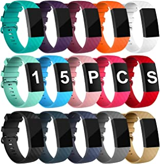 Velavior 15 Colors Bands for Fitbit Charge 3 / Charge3 SE, Waterproof Replacement Wristbands for Women Men Small Large