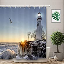 Coastal Starfish Lighthouse Resin Curtain Rings Style B BayQian Set of 12 Decorative Shower Curtain Hooks