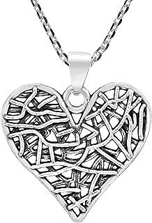 AeraVida Stylish Sweet Hearts Mesh Effect .925 Sterling Silver Pendant Necklace