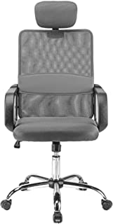 Halter Ergonomic Executive Mesh Office Chair with Headrest, Thick, Compact Seat Cushion, Smooth-Glide Wheels, Durable Chrome Base, Easy Assembly (Dark Gray)