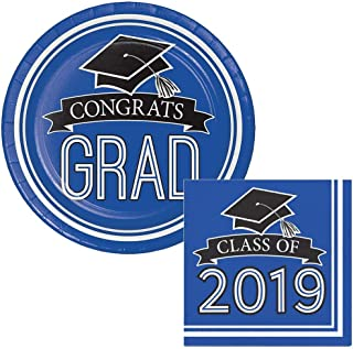 School Colors Class of 2019 Graduation Dinner Plates & Napkins Party Kit for 18 (Blue)