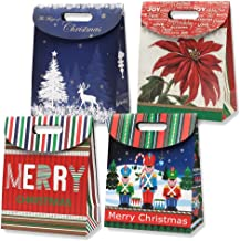 Gift Boutique Small Christmas Cookie Tent Boxes Foldover Gift Bags with Handles 12 Pack 4 Holiday Designs for Easy Wrapping Packaging Kids Presents Prizes Treat Candy Party Favor & Stocking Stuffers