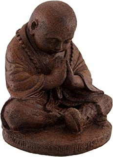 Things2Die4 Concrete Cast Statue Praying Buddhist Monk Brown