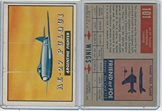 1952 Topps, Wings, 101 AE-27 Pulqui, Argentina Fighter Airplane