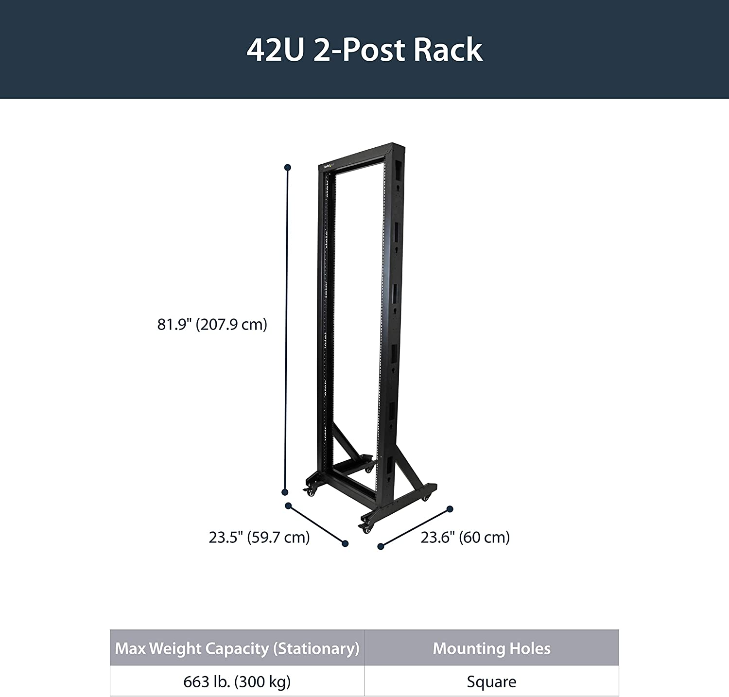 StarTech.com 42U Mobile Open Frame Network Rack with Wheels- 663lbs - 2 Post 19