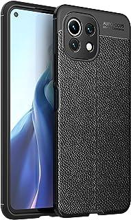 Xiaomi Mi 11 Lite (Xiaomi Mi 11 Lite) Shockproof Silicone Litchi Back Case Carbon Fiber - (Black)