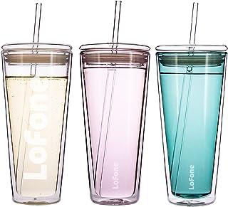 Tasse de voyage en verre de 600 ml à double paroi avec couvercle et 2 pailles (rose)