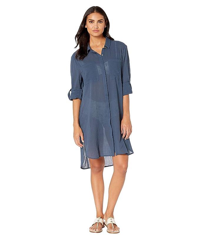 Seafolly Crinkle Twill Beach Shirt (Blueprint) Women