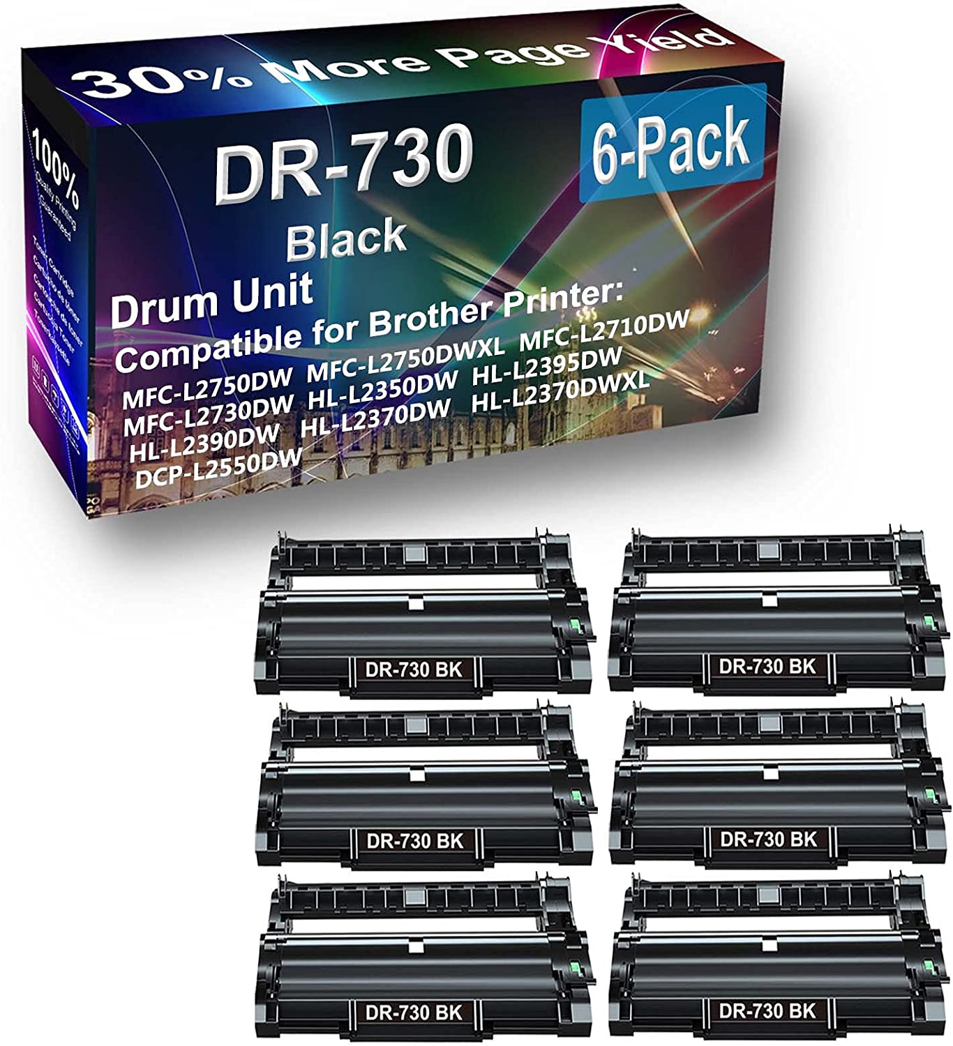 6-Pack Compatible Louisville-Jefferson County Mall Drum Max 75% OFF Unit Black Replacement Brother for DR73