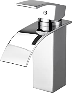 KAEN Contemporary Chrome Single Handle Lavatory Widespread Waterfall Bathroom Sink Faucet with Extra Large Rectangular Spout, Single Hole Solid Brass Basin Mixer Tap