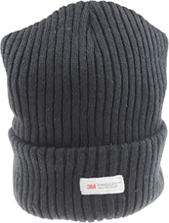 Glamour Girlz, Warm Winter Black Chunky Ribbed Knit Turn Up Thinsulate Beanie Hat