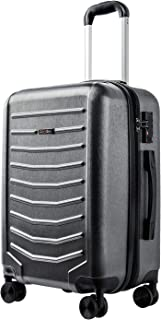 CarryOne Expandable Luggage 21Inch Carry On PC+ABS Suitcase Built-in TSA Lock with 4 Double Silent Spinner Wheels,TD1-Grey