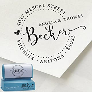 Custom Return Address Stamp - Personalized Bride and Groom Family Address Self-inking Stamp 1162d