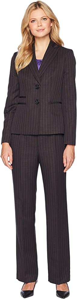 Pinstripe Two-Button Notch Lapel Pants Suit w/ Cami
