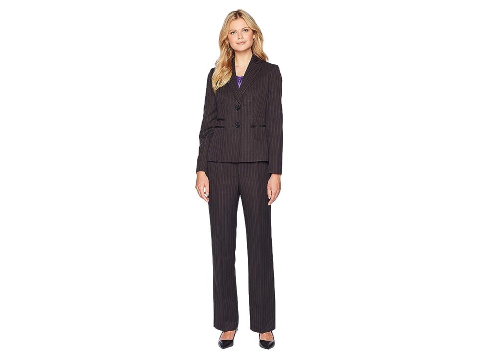 Le Suit Pinstripe Two-Button Notch Lapel Pants Suit w/ Cami (Charcoal/Iris) Women