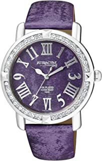 Q&Q Women's Purple Dial Leather Band Watch - DA93J305Y
