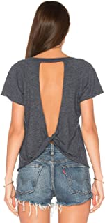 Blooming Jelly Women's Sexy Backless Short Sleeve Top Back Knot Casual Shirt Tee
