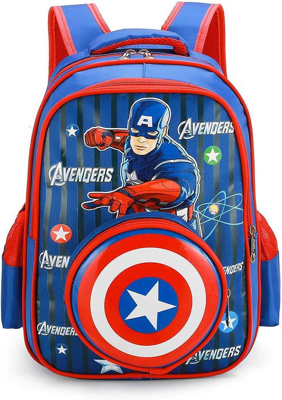 FGJSE Zaino per Bambini, Borsa da autotone Animato Captain America Stampato scolari Borsa per ridurre Lo Zaino per Bambini Traspirante Spina Dorsale A
