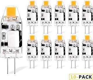 G4 1.2W Bi Pin Base LED Bulb AC/DC 12V 10W 15W Halogen Equivalent Warm White 2700K for Landscape Lighting, Chandelier, Under Cabinet, Desk Lamp, 120LM, 10-Pack