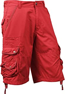 Mens Premium Cargo Shorts with Belt Outdoor Twill Cotton Loose Fit Multi Pocket Pants