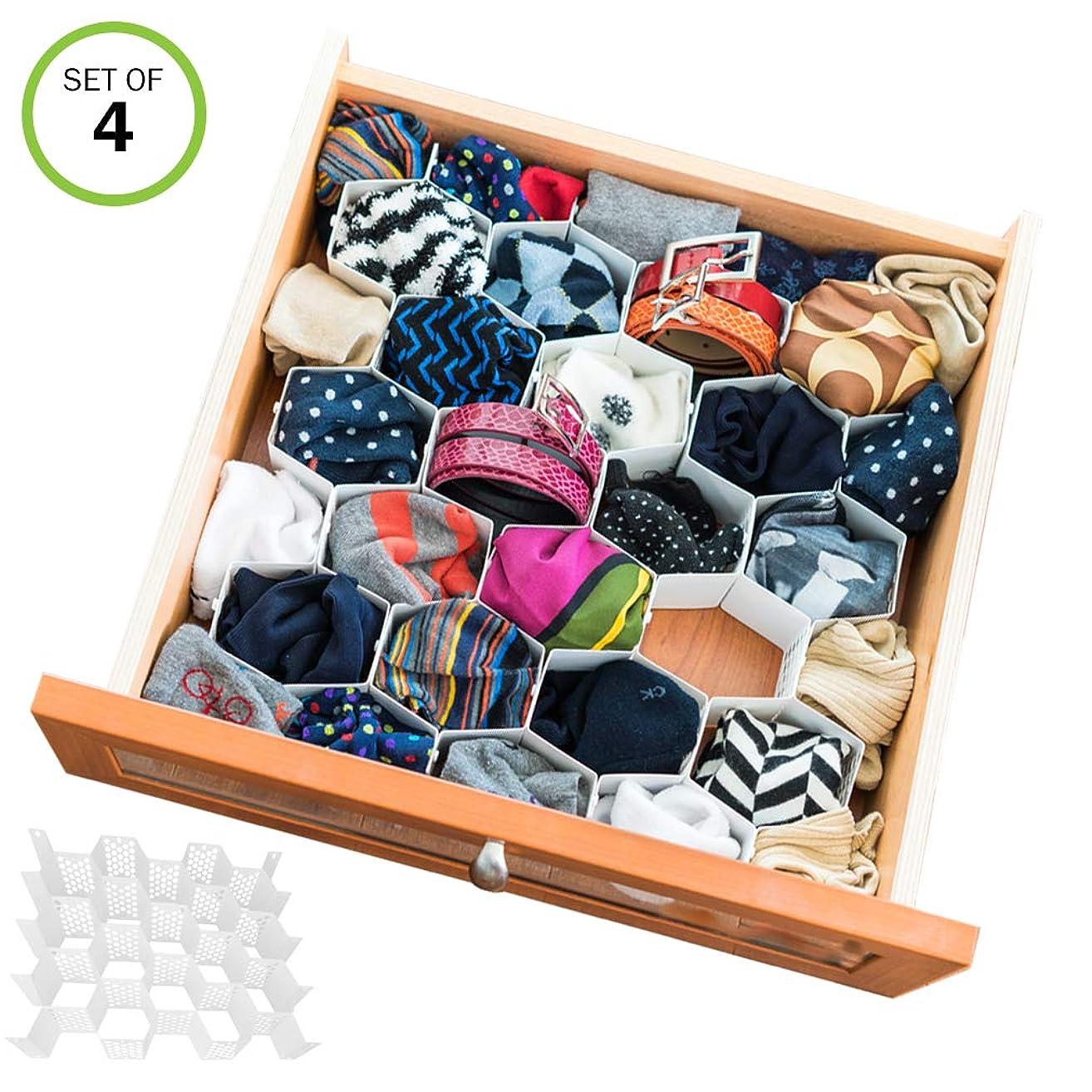Evelots Drawer Organizer-Divider-Sock-Belt-Scarf-Underwear-112 Slots Total-Set/4