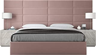 """Vänt Upholstered Wall Panels - King/Cal King Size Wall Mounted Headboards - Plush Velvet Dusty Rose - Panel Size 39"""" Wide x 11.5"""" High - Pack of 4 Panels"""