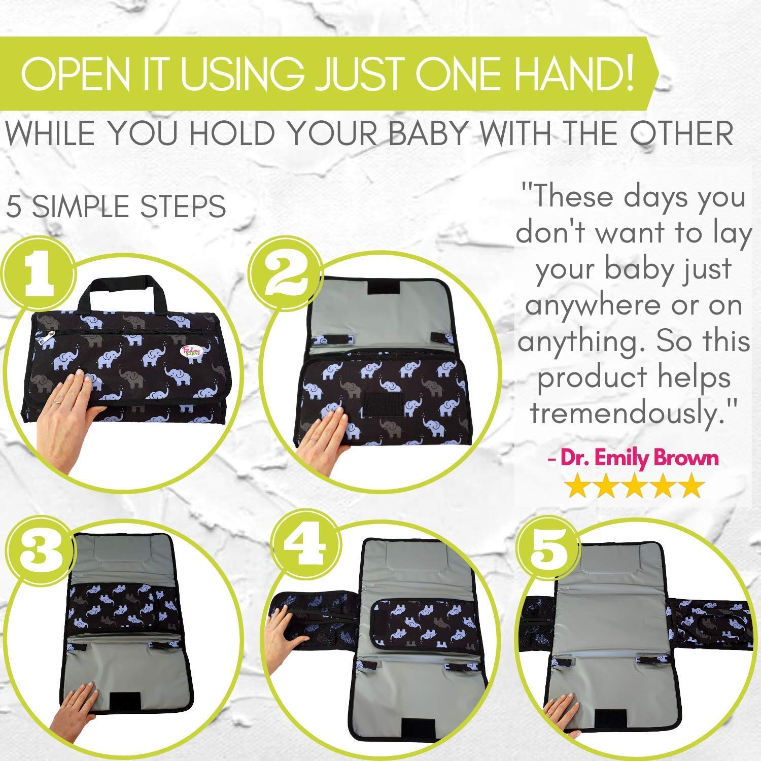 Fridaybaby Portable Diaper Changing Pad – Use One Handed - Slim and Easy to Clean Waterproof Diaper Clutch w/Pockets for Wipes and Diapers   Travel Changing Pad for Diaper Bag   Elephant Baby Stuff