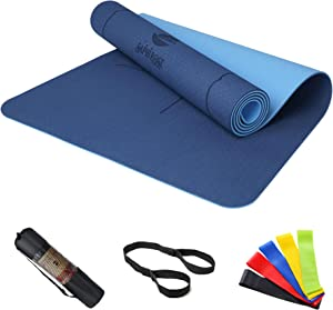 SaphiRose Non Slip Yoga Mat with Alignment Lines TPE Home Fitness Eco Friendly Exercise & Workout Mat with Carrying Strap Types of Yoga