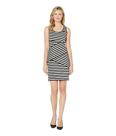 MICHAEL Michael Kors Fulham Diagonal Stripe Sleeveless Dress (Black/White) Women