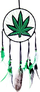 Marijuana Leaf Pot Weed Embroidered Dream Catcher (16 Inches Long)
