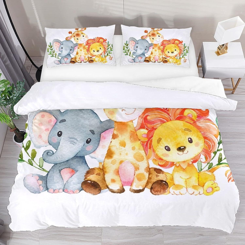 BOLIMAO 3 Tulsa Mall Pieces ! Super beauty product restock quality top! Safari Jungle Zoo Duvet Baby Cover Animals Set