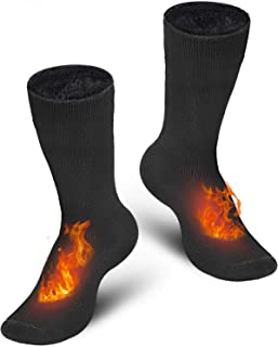 Thermal Socks, 2 Pairs of Unisex Winter Socks Insulated Heated Fuzzy Warm Socks for Men and Women Extreme Cold, Non-Slip & Insulated Fuzzy With Exhaust for Cold Weather Outdoor Sports Hiking