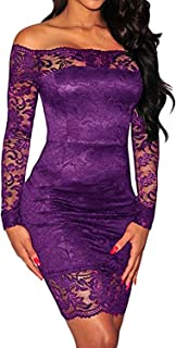 Women's Off Shoulder Sexy Lace Bodycon Elegant Cocktail Party Long Sleeve Bandage Dress