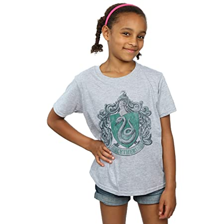 HARRY POTTER niñas Slytherin Distressed Crest Camiseta 12-13 Years Gris Sport