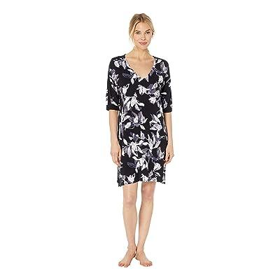 Donna Karan Modal Sleepshirt (Black Floral) Women