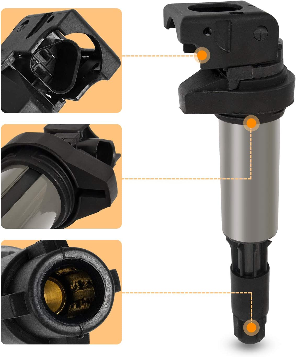 Compatible With BMW 330i 330xi 525i 530i 545i 550i 645ci 650i 745i 745li 750i 750li 760i 760li M3 X3 Z4 Ignition Coil Pack of 6 Replaces 12131712219 12137594938 5C1401