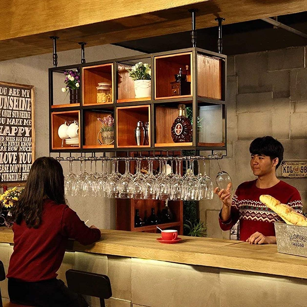 虚栄心政権地雷原XixuanStore リビングルームのワインラック、レストランのワインラック、装飾的なワインラック、ワインラックCcomplimentにスペースを吊り下げ式のワインキャビネット (Color : 150cm*32cm*65cm)