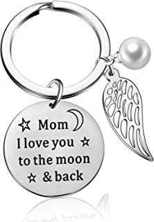 Mom I Love You to The Moon and Back Pearl Wing Keychain Mothers Day Birthday Jewelry Gifts for Mom, (Style-Mom I Love You)