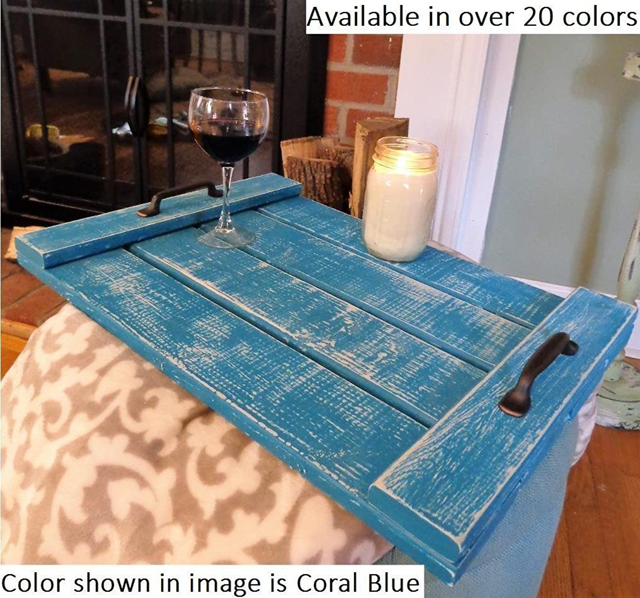 Renewed Decor Farmhouse Serving Tray in 20 colors - Cottage Tray - Tea Tray - Coffee Table Tray - Ottoman Tray - Breakfast in bed Tray - Wooden Tray - Rustic Tray