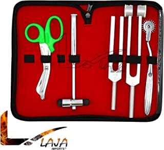 LAJA Imports 6 Piece Diagnostic Kit Medic Student - Reflex Hammer and Tuning Fork Set C 128 and C 512. Includes A Wartenberg Pinwheel and A Premium Green Steel Bandage Scissor 5.5""
