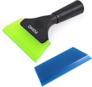 FOSHIO 1 Pack Green Shower Squeegee Shower Mirror Glass Wiper Window Wiper with 1 Extra Silicone Water Blades With non-slip Handle for Auto Window Tinting Kits Bathroom