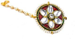 Aashya Mayro Rajwadi Maroon Meenakari and Kundan Work Pearl Studded, Gold Plated Borla Maang Tikka for Women & Girls