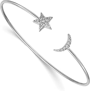 14k White Gold Diamond Crescent Moon And Star Cuff Bracelet 9 mm x 7 inch (0.251 cttw, I1 Clarity, H-I Color)