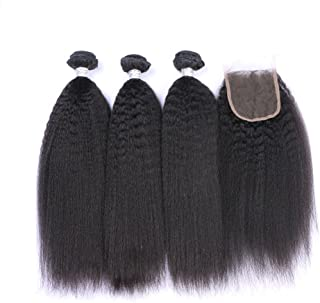 FDshine Peruvian Hair Bundles with Closure Kinky Straight Free Part 4x4 Human Hair Weaves and Lace Closure Coarse Yaki Hair Extensions (18
