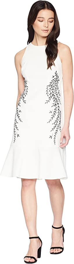 Petite Knit Crepe Embroidered Trumpet Dress
